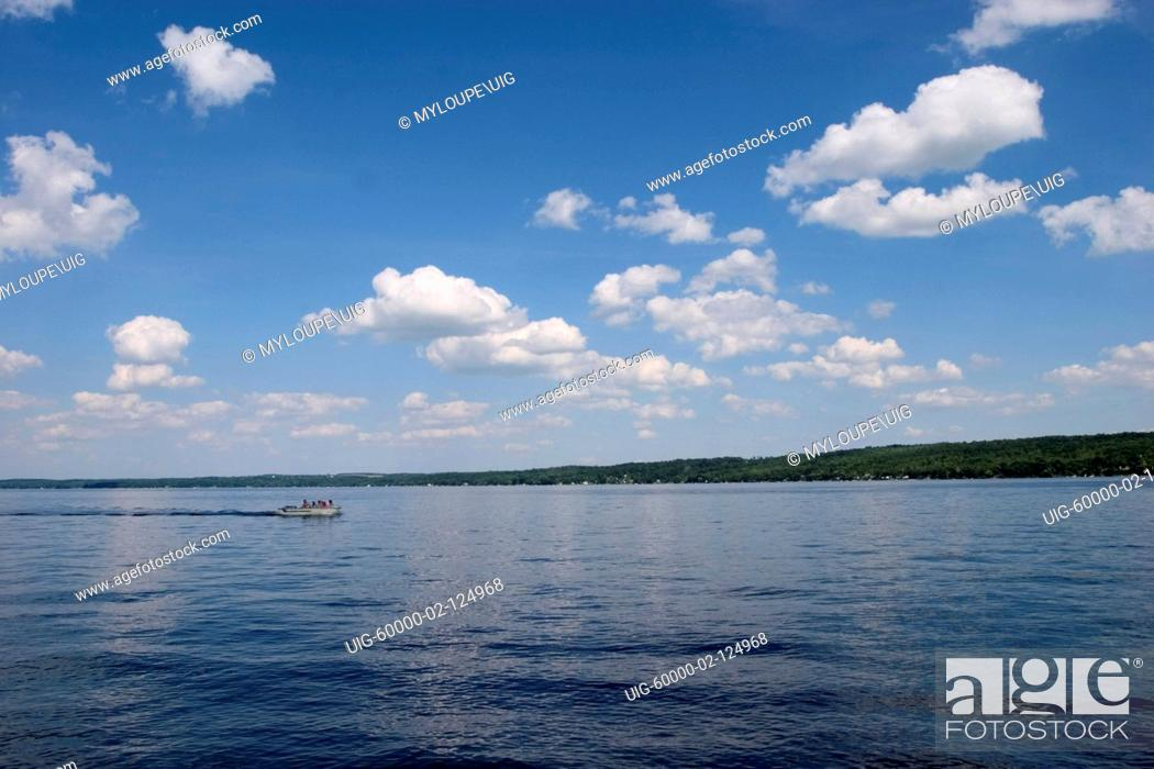 Stock Photo: Small boat on Canandaigua Lake in the Finger Lakes region of New Yrok State.