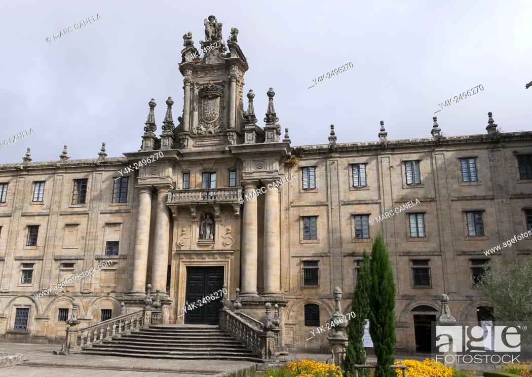 Stock Photo: Europe, Spain, Santiago de Compostela, Praza da inmaculada, Inmaculada Square, Monastery of St. Martin Pinario. The monastery of San Martiño Pinario San Martín.