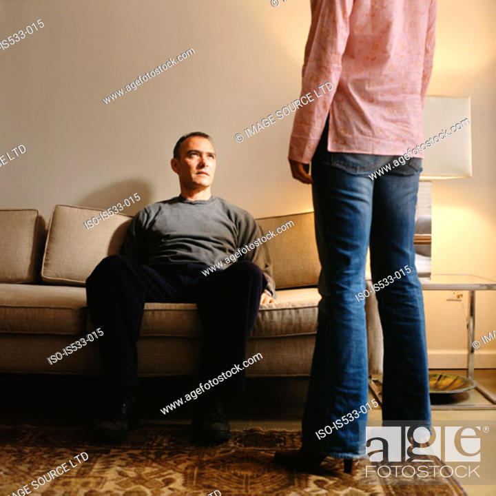 Stock Photo: Couple in living room.