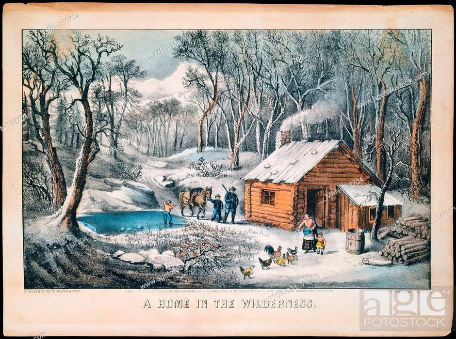 Stock Photo: A Home in the Wilderness. Publisher: Currier & Ives (American, active New York, 1857-1907); Date: 1870; Medium: Colored lithograph; Dimensions: 8 x 12 1/2 in.