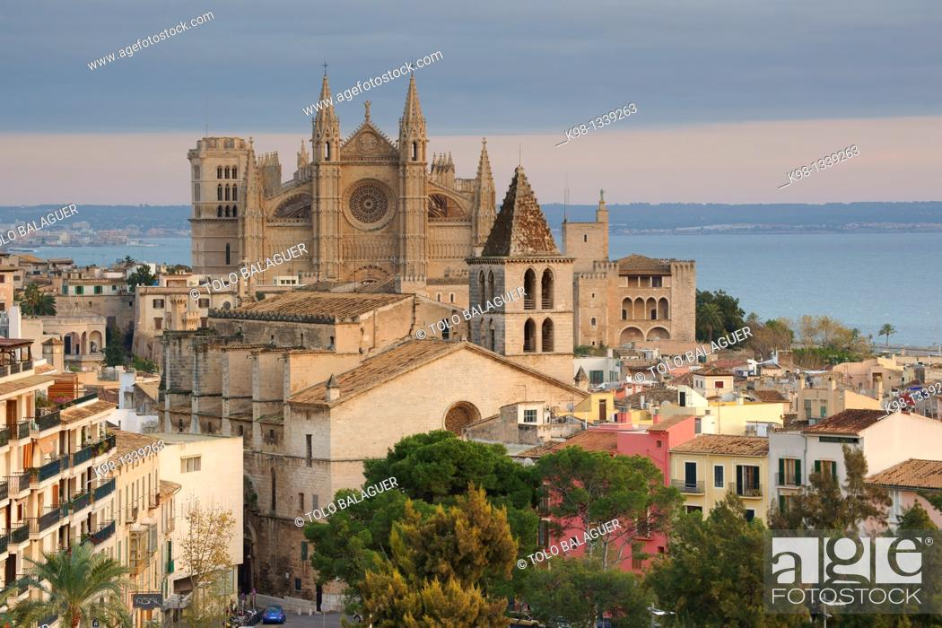Stock Photo: Church of La Santa Creu (in foreground) and Cathedral (in background), Majorca, Balearic Islands, Spain.