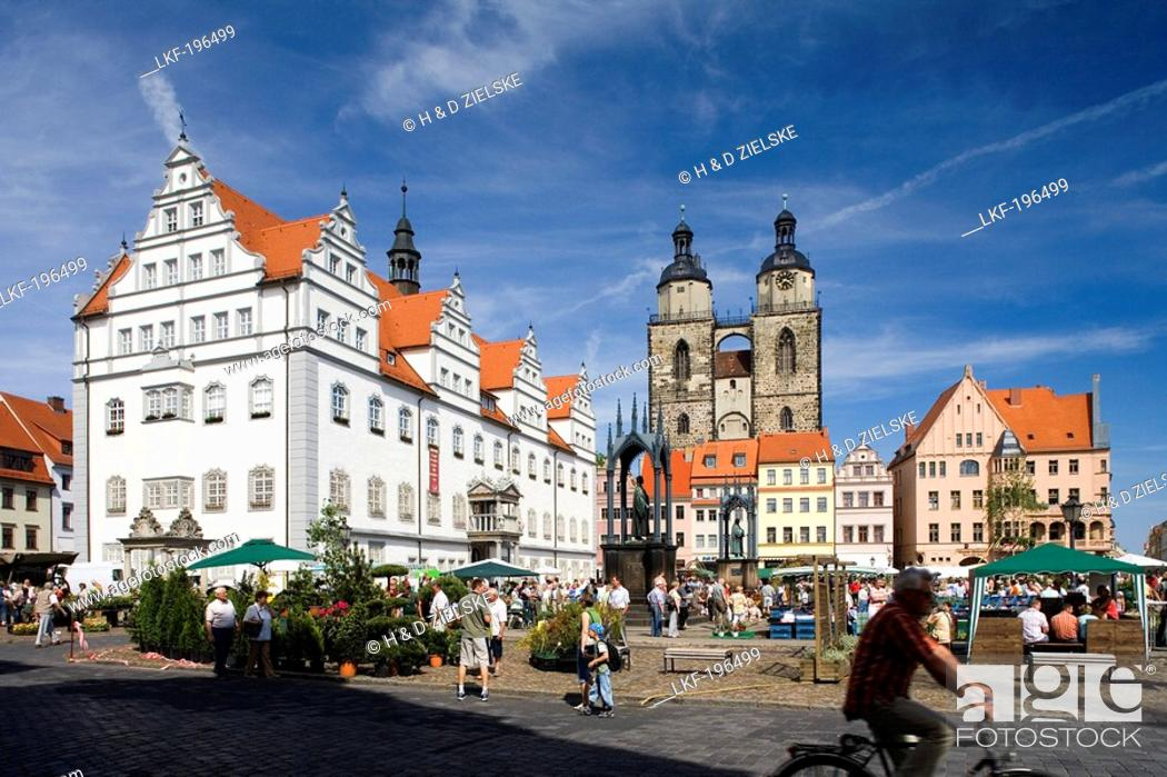 Stock Photo: Market square with town hall, St. Mary's church and monuments of Luther and Melanchthon, Wittenberg, Saxony Anhalt, Germany, Europe.
