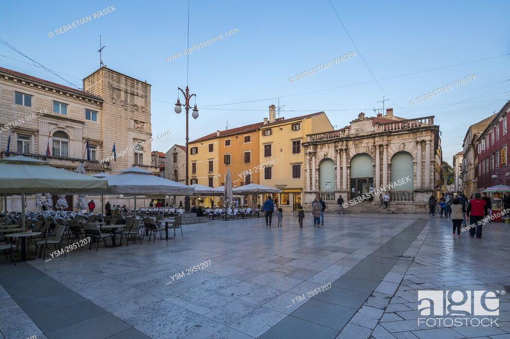 Stock Photo: People's Square, Zadar, Dalmatia, Croatia, Europe.