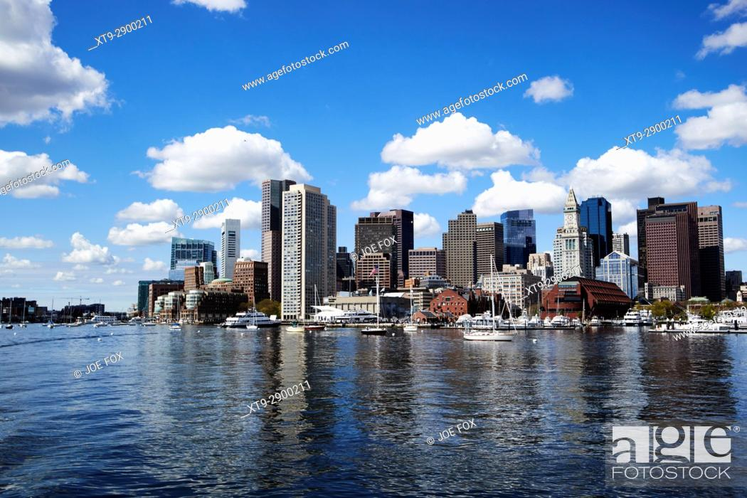 Stock Photo: View of Boston waterfront, including aquarium, Harbor Towers and Rowes Wharf. Boston, Ma., USA.