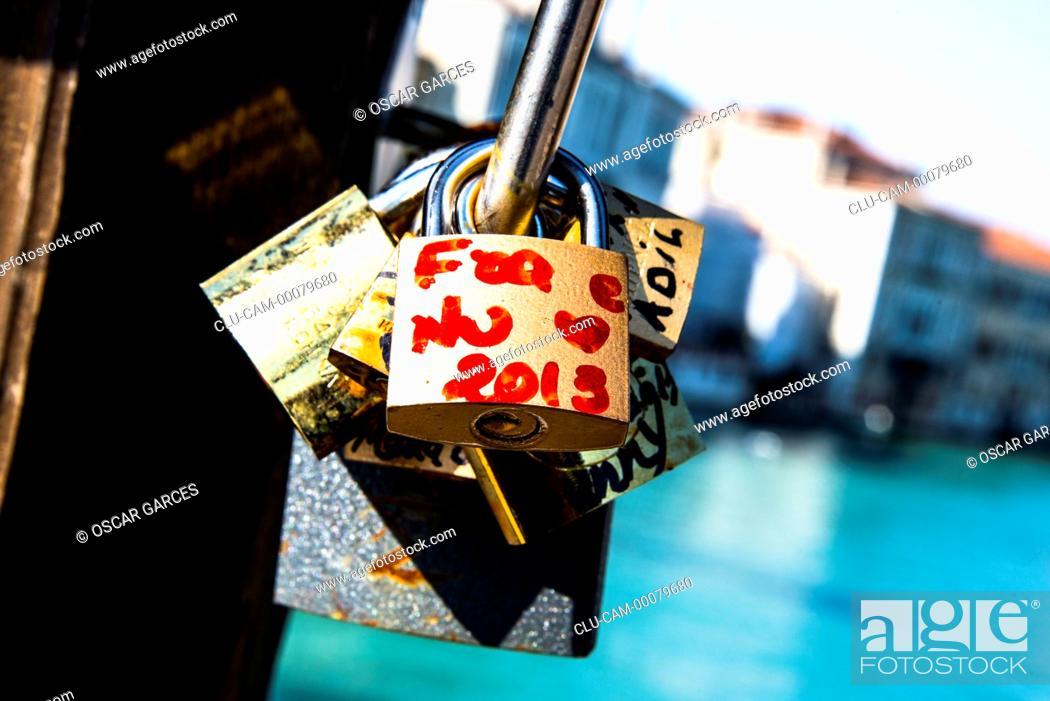 Stock Photo: Locks of love, Rialto Bridge, Venice, Italy.