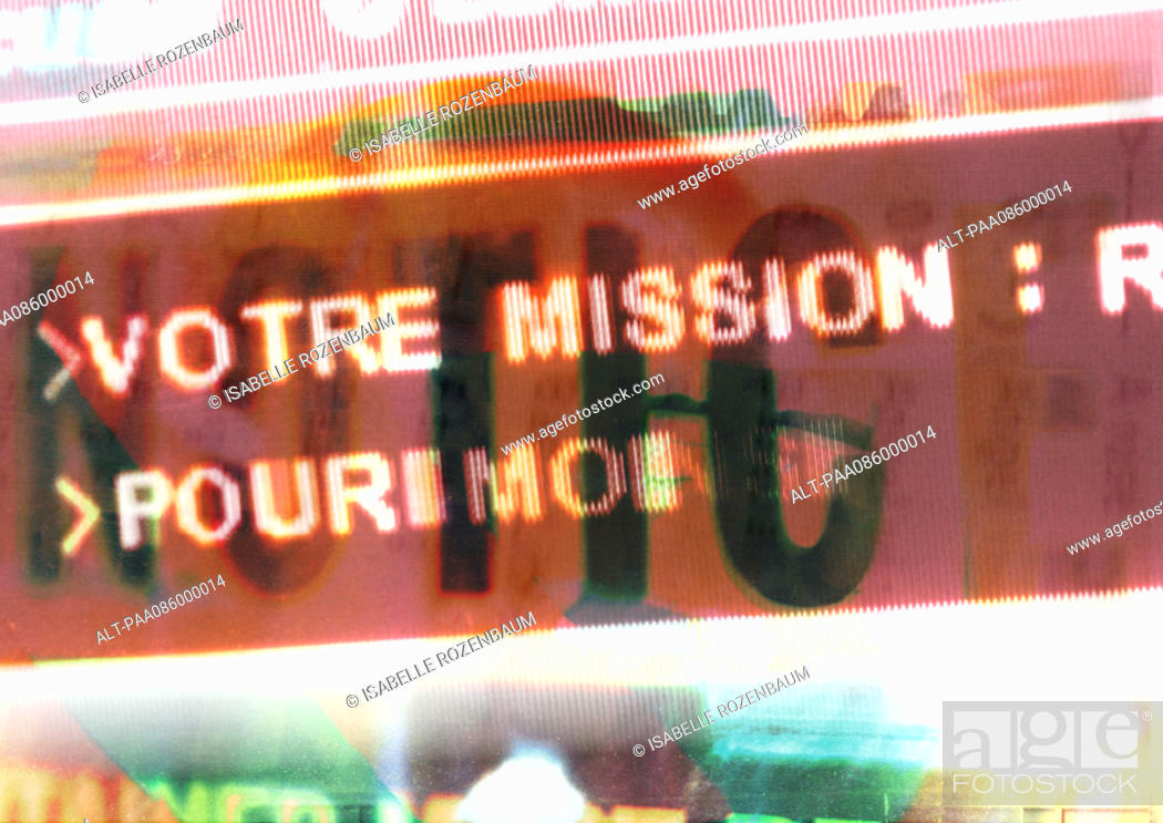 Stock Photo: Typographic imagery, French sign overlay by transparent 'notice' type, montage.