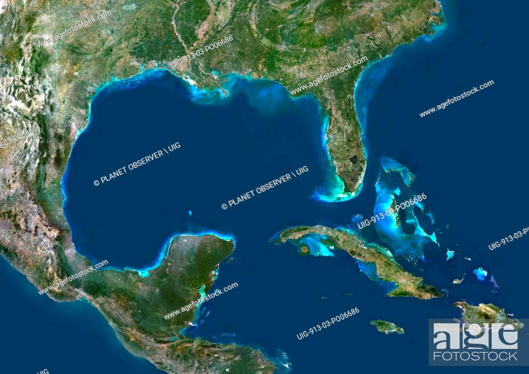Imagen: Colour satellite image of the Gulf of Mexico.