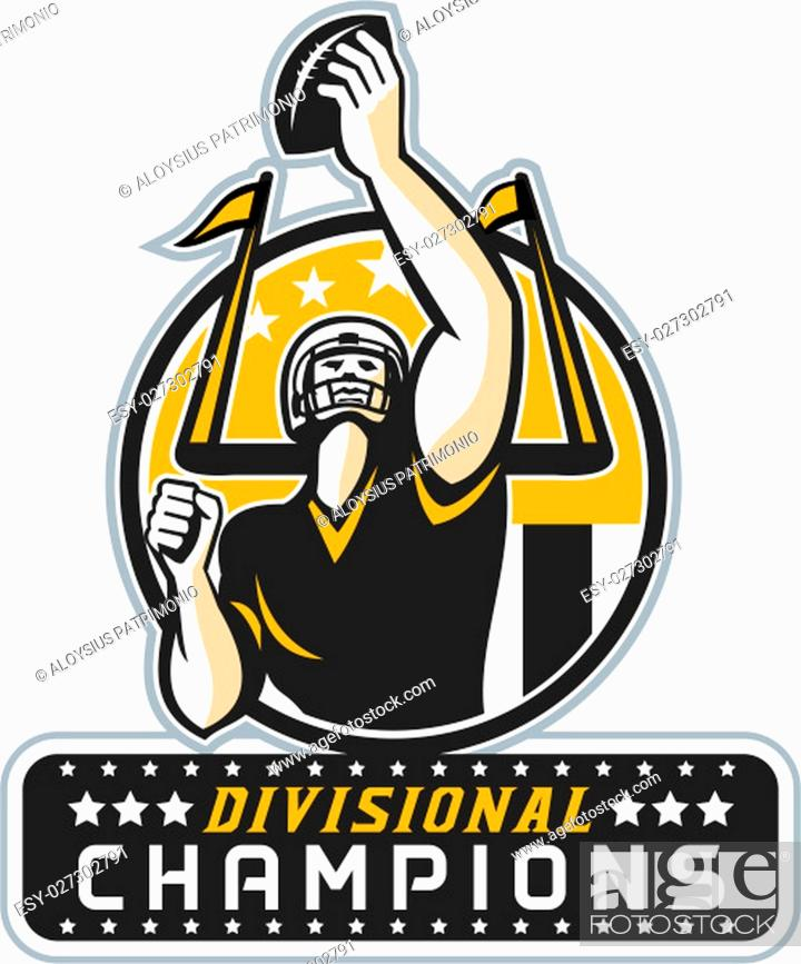 Imagen: Illustration of an american football quarterback holding up ball facing front set inside circle with stars and stripes flag with words Divisional Champions done.