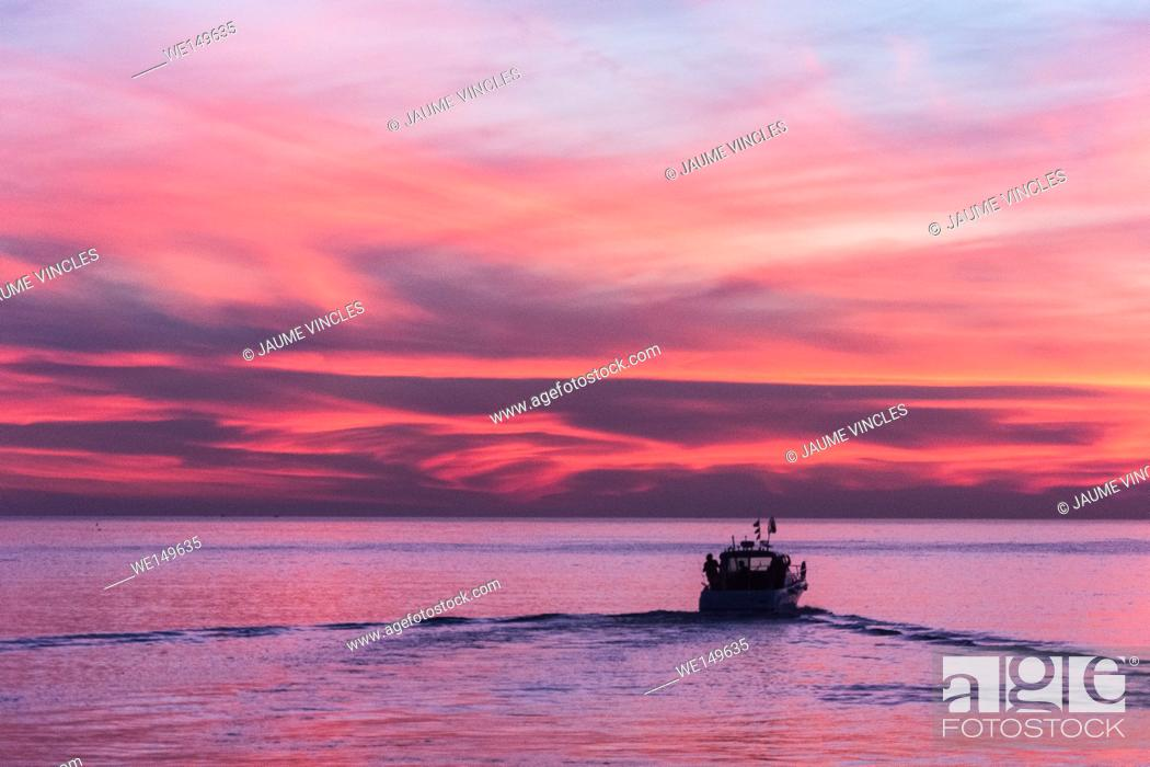 Stock Photo: Group of friends going out to sea, Barcelona Coast lifestyle.