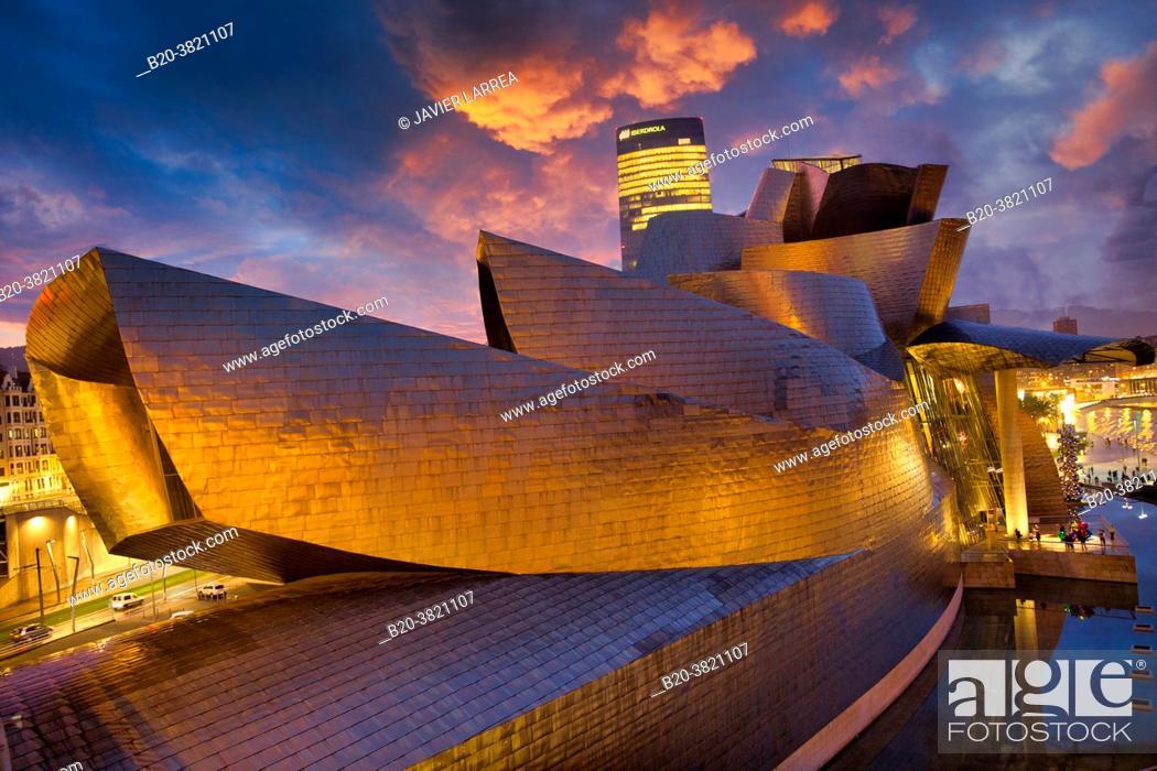 Stock Photo: Nervion river, Guggenheim museum and Iberdrola tower, Bilbao, Bizkaia, Basque Country, Spain, Europe.