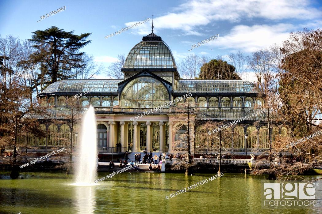 Stock Photo: Crystal Palace in the Retiro park in the center of Madrid, Spain.