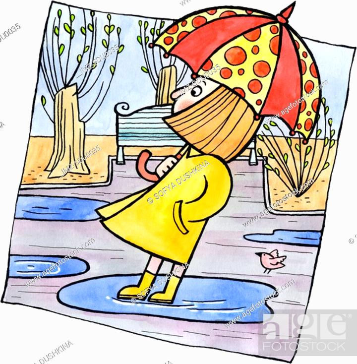 Stock Photo: A girl standing in a puddle holding an umbrella.