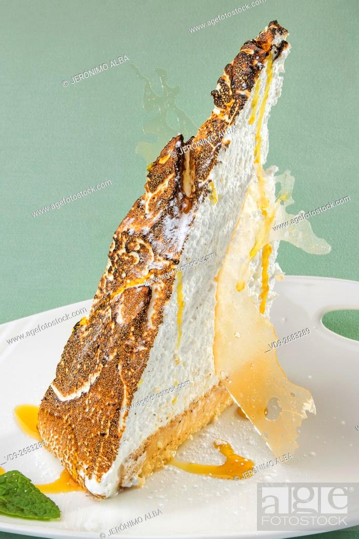 Stock Photo: Dessert. Lemon Tart with Toasted Meringue Top.