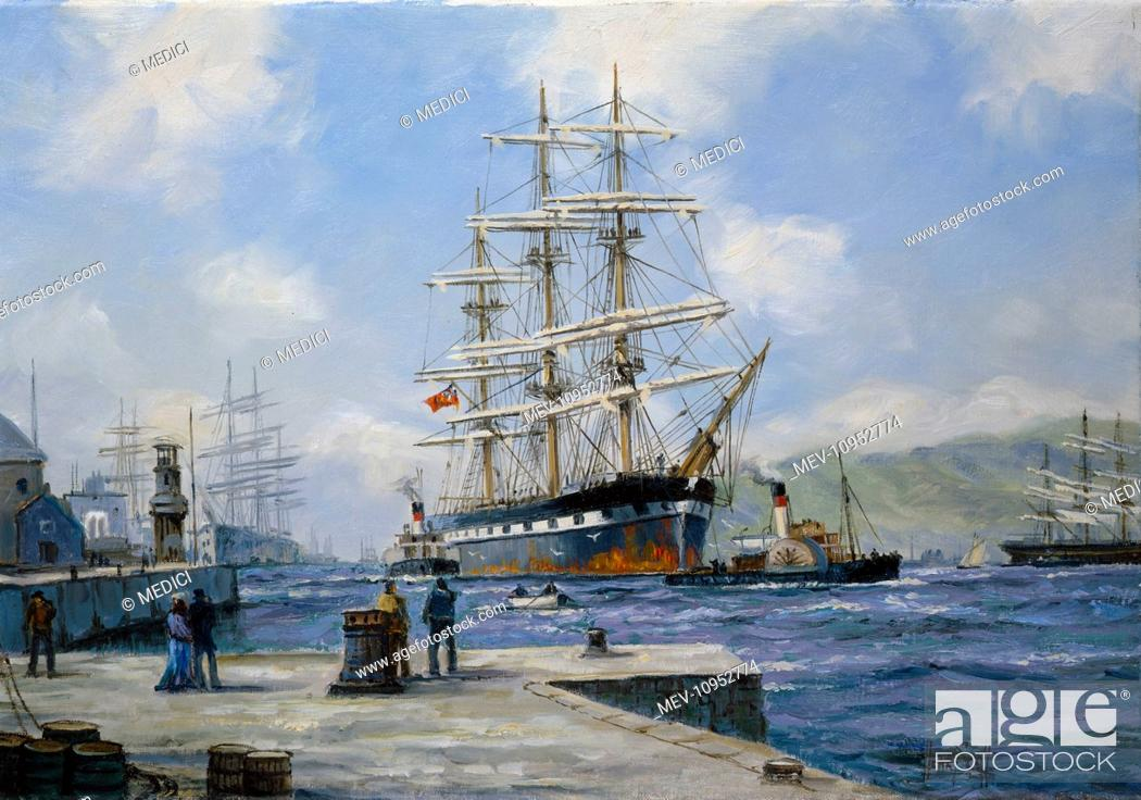 Port of Call' – wool clipper 'Cromdale' – Harbour scene with