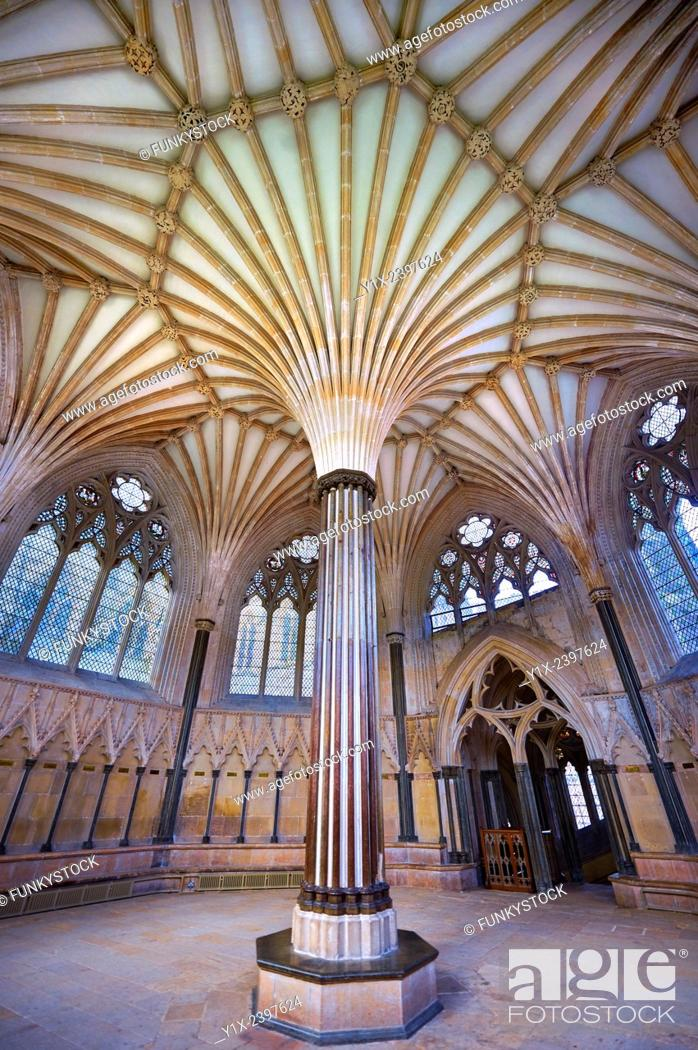 Stock Photo: The vaulted ceiling of the Chapter House of the medieval Wells Cathedral built in the Early English Gothic style in 1175, Wells Somerset, England.