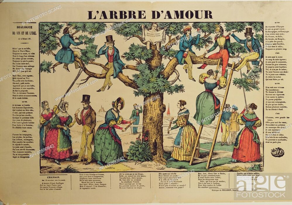 Stock Photo: Bilderbogen, Frankreich historisch, L'arbre d'amour, Liebesbaum, Verlag Pellerin, Epinal, TEXT NOCH IN BEARBEITUNG.