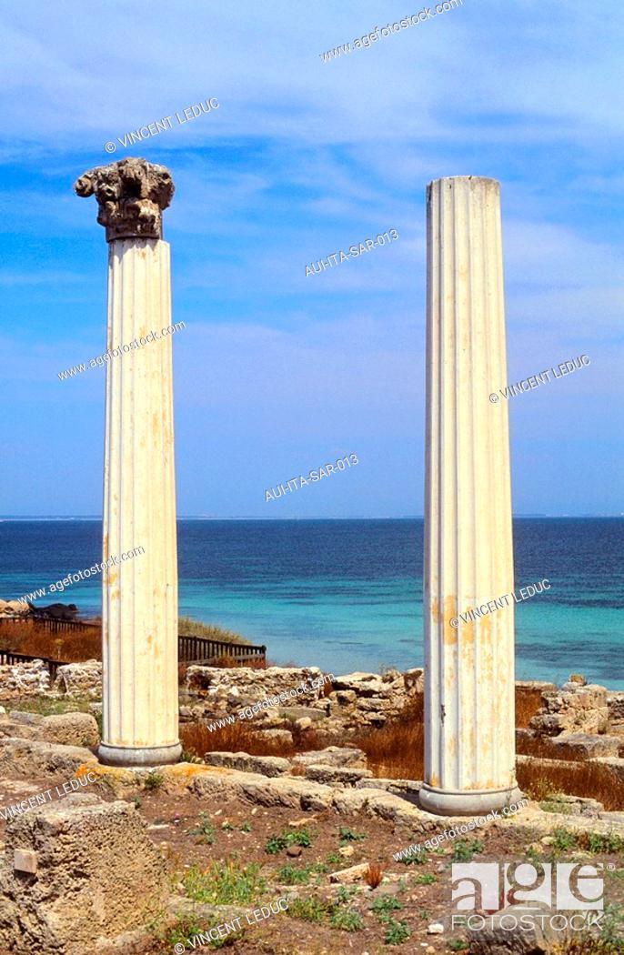 Stock Photo: Italy - Sardinia - West Coast Region - Antique Site - Tharros - Corinthian Columns.