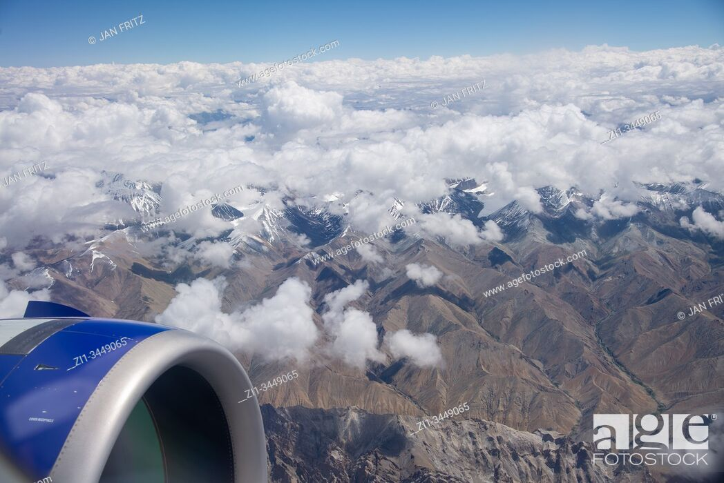 Stock Photo: aerial view at Himalayas in Ladakh, India.