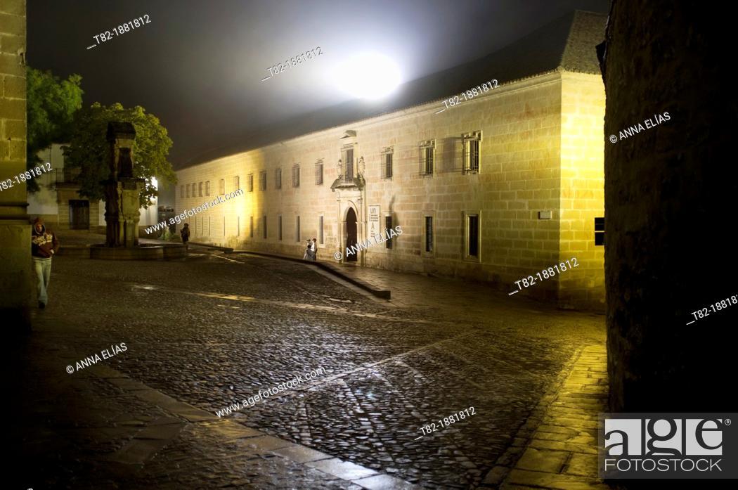 Stock Photo: The Plaza de Santa María and San Felipe Neri Seminary, current headquarters of the UNIA, Baeza, Jaen, Andalucia, Spain, Europe,.