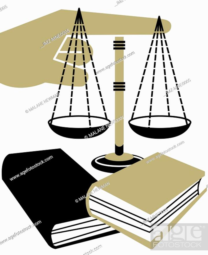 Stock Photo: A montage illustration of a hand pointing, books and the Scales of Justice.
