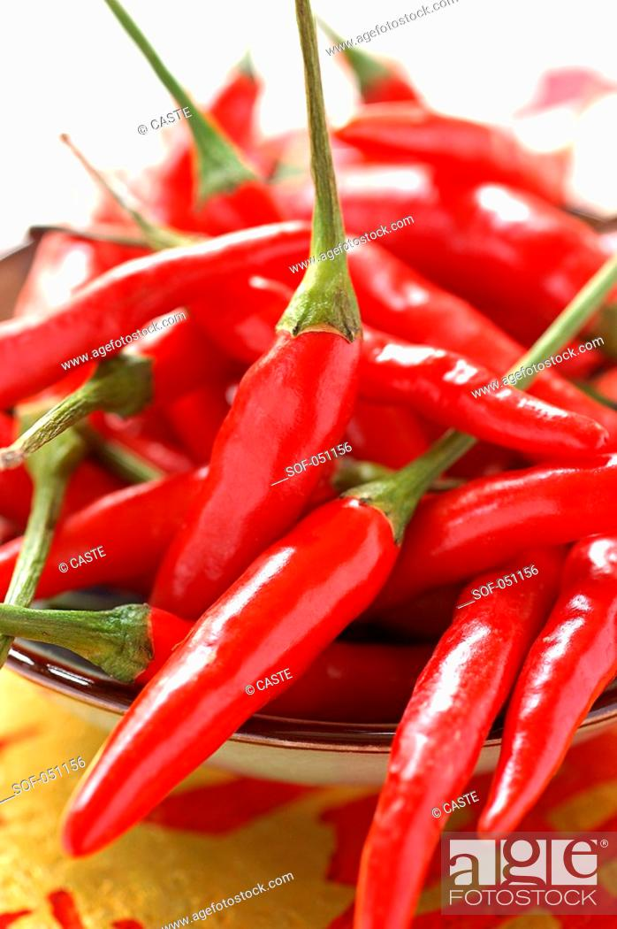 Stock Photo: chilli peppers.