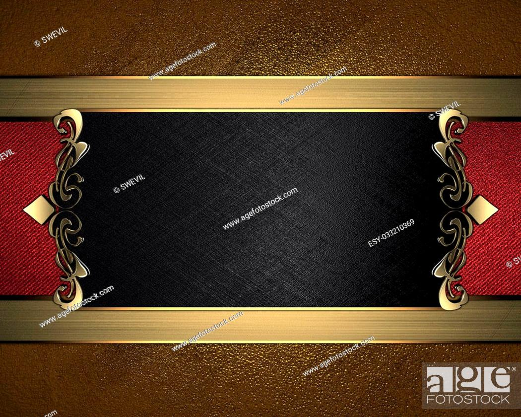 Stock Photo: Grunge gold background with black name plate with patterns on the edges.