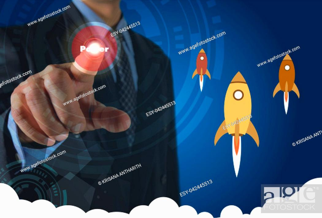 Stock Photo: Businessman pressing virtual buttons on screen concept with rocket and white cloudy.