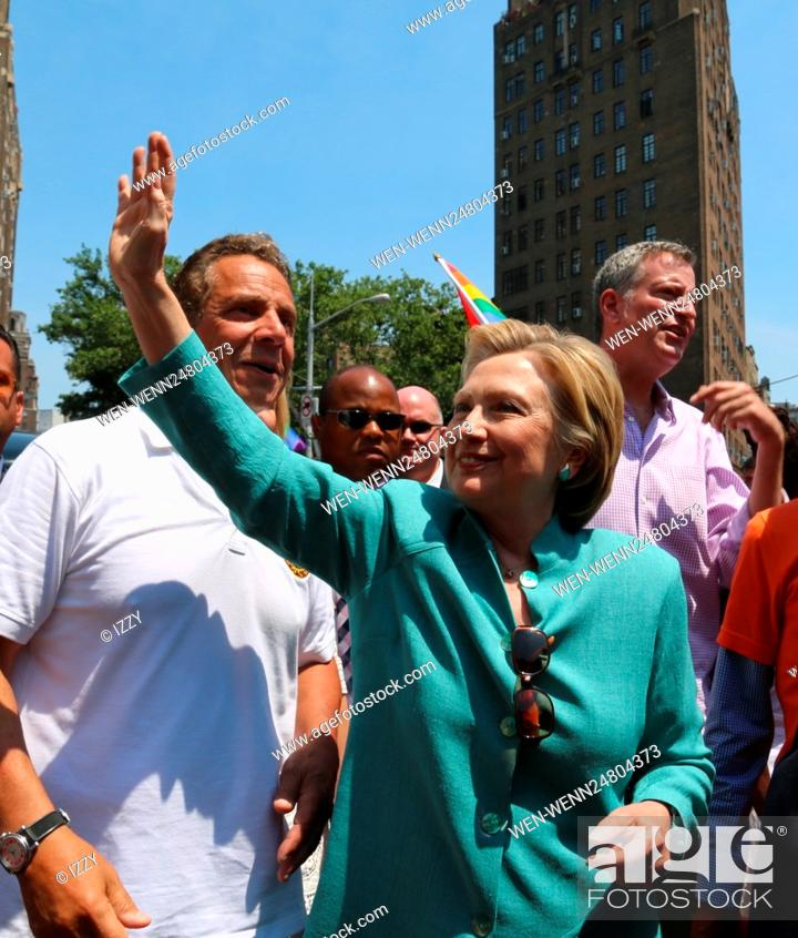 Stock Photo: New York City Pride March 2016 Featuring: Andrew M. Cuomo, Hilary Clinton Where: New York City, New York, United States When: 26 Jun 2016 Credit: IZZY/WENN.