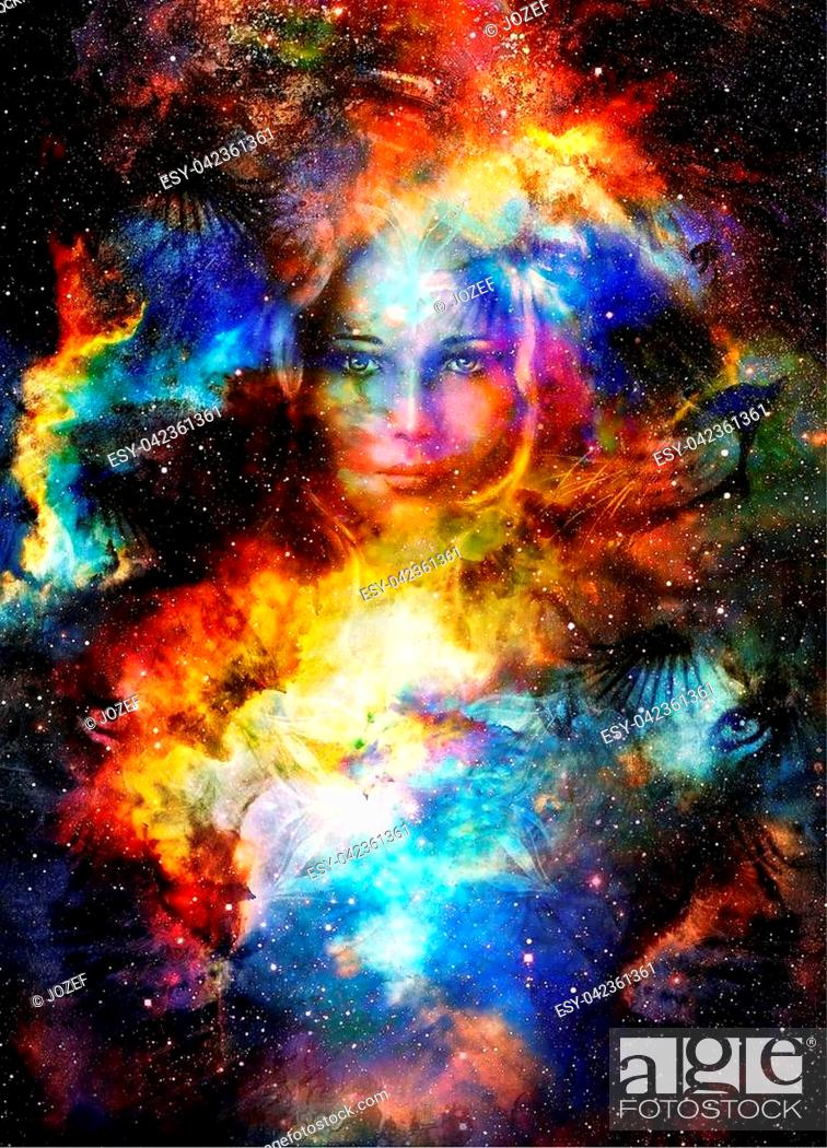 Photo de stock: Goodnes woman and lion in space with galaxi and stars. profile portrait, eye contact.