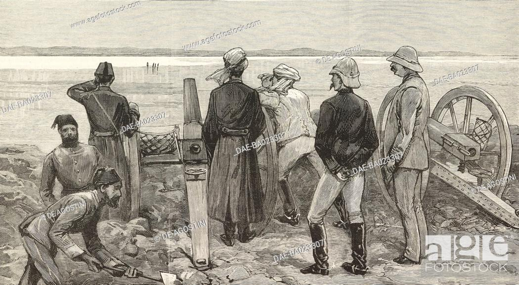 Stock Photo: Baker Pasha (Valentine Baker) and his staff in the lines at Trinkitat watching spies carrying an ultimatum to the enemy before the advance to relieve Tokar.