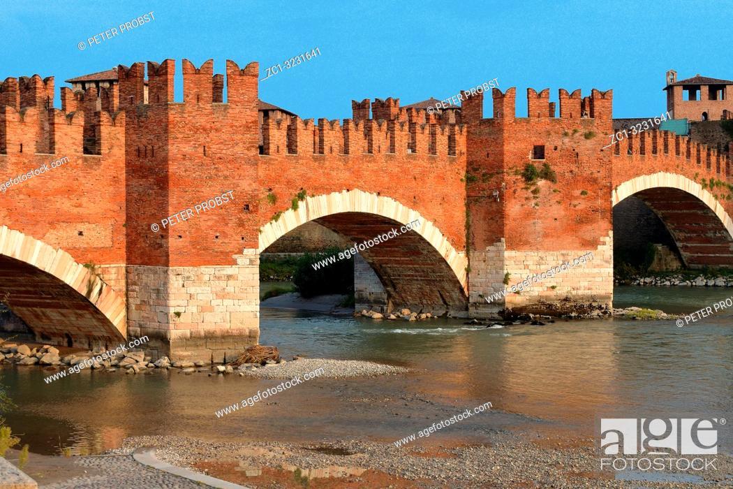 Stock Photo: Castelvecchio bridge Ponte Scaligero over the river Adige in Verona - Italy.