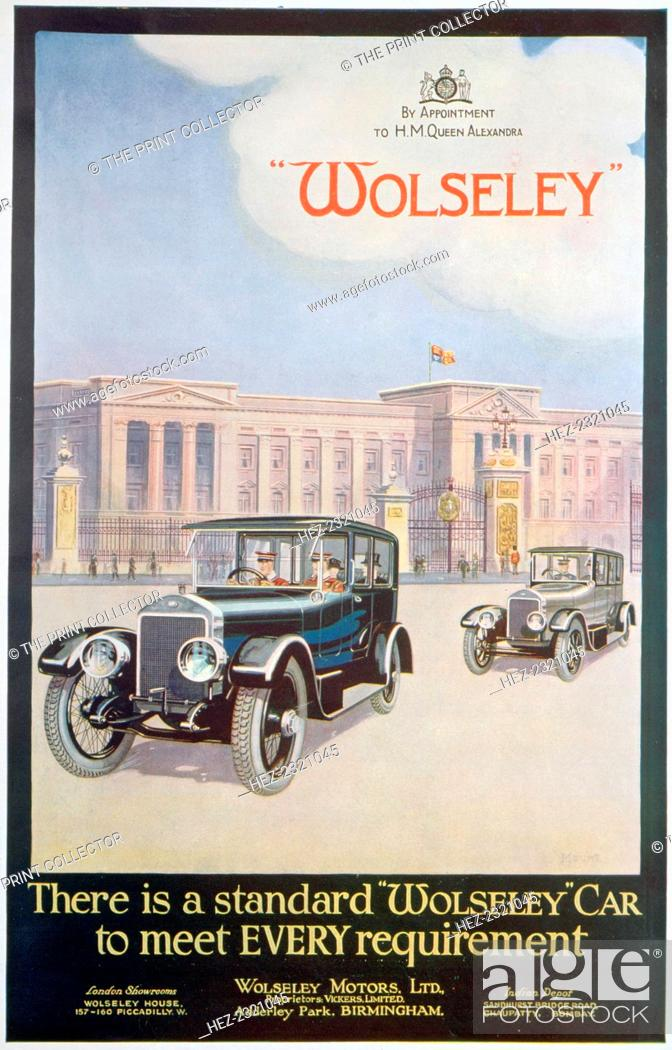 ... stock photo advert for wolseley motor cars 1922 a car pictured outside buckingham ...