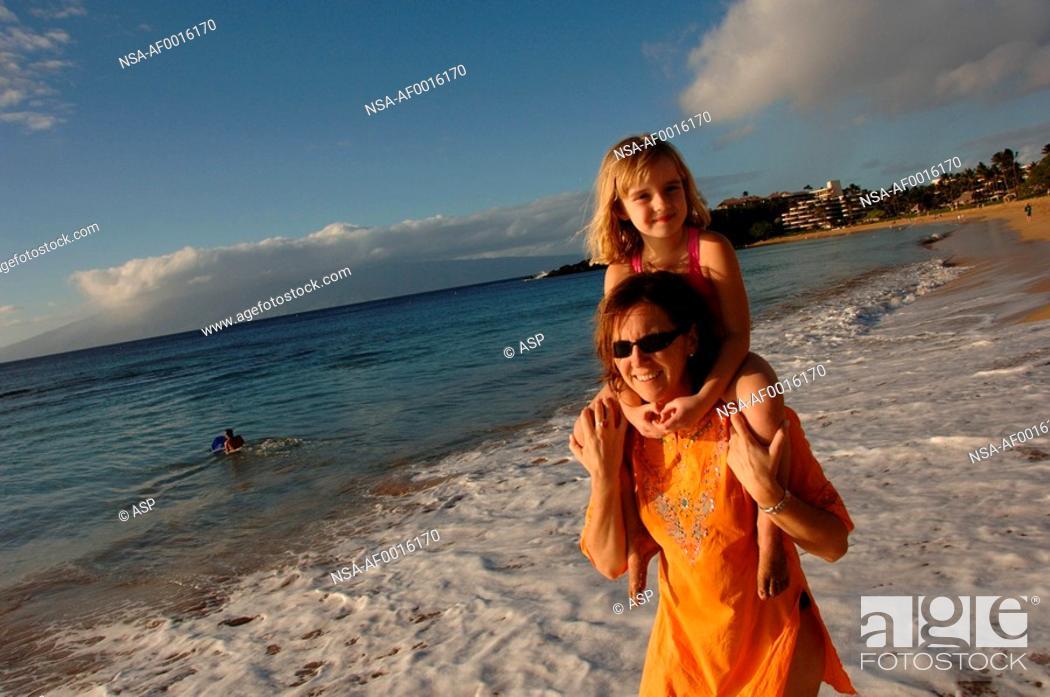 Stock Photo: Family Lifestyle Vacation Maui Hawaii.