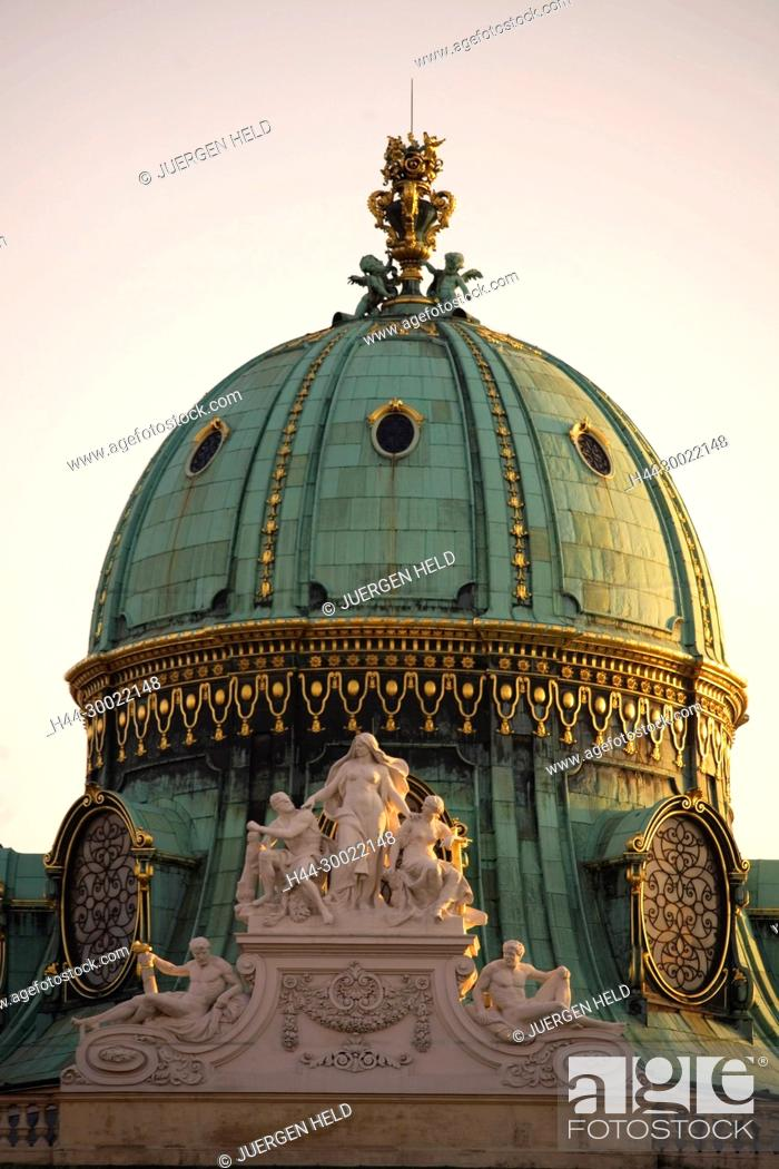 Stock Photo: Vienna Hofburg Detail Michaelerkuppel.