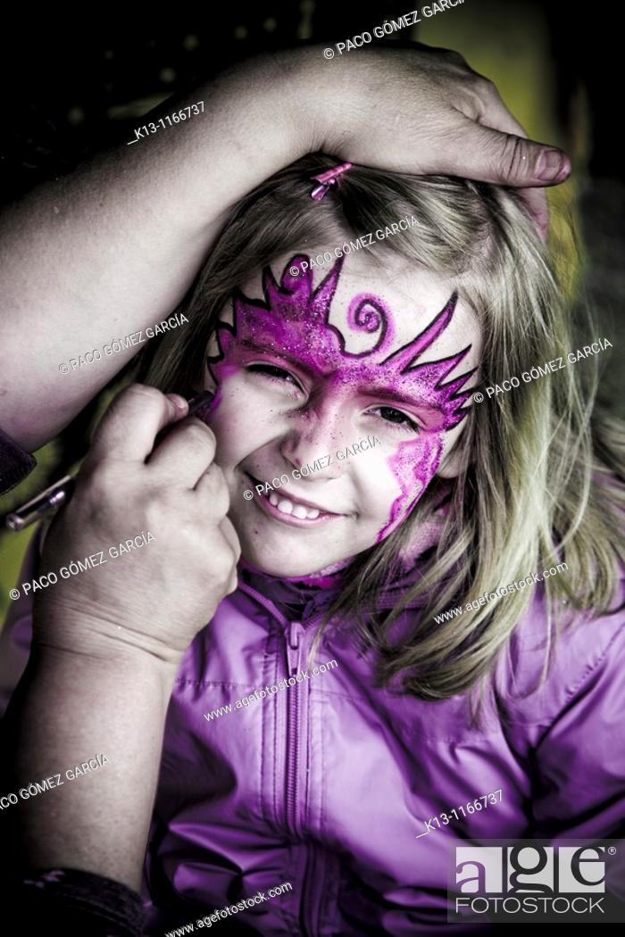 Stock Photo: Face painting girl.