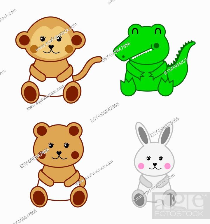 Stock Vector: baby animals.