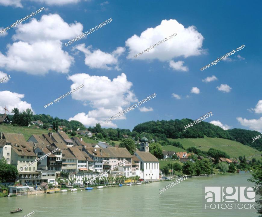 Stock Photo: 10652072, Old Town, view, village, Eglisau, river, flow, canton Zurich, view of a place, Rhine, river, flow, Switzerland, Euro.