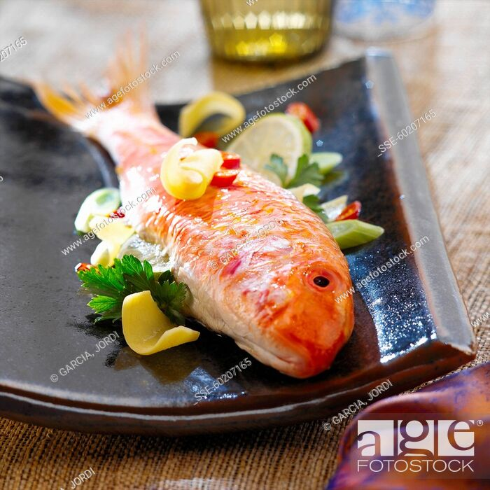 Stock Photo: Red mullet with ginger and vegetables.