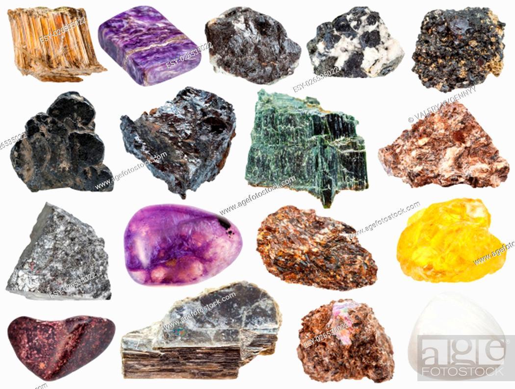 Stock Photo: set of various natural mineral stones - sphene, muscovite, stibnite, antimonite, asbestos, chrysotile, amosite, ilmenorutile, rutile, ilmenite, sphalerite.