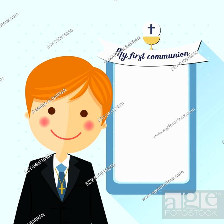 Vector: Foreground child costume in her first communion dress invitation with message on blue background.