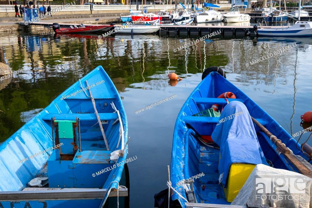 Stock Photo: Traditional boats in Bolsena port, Bolsena lake, Lazio, Italy.