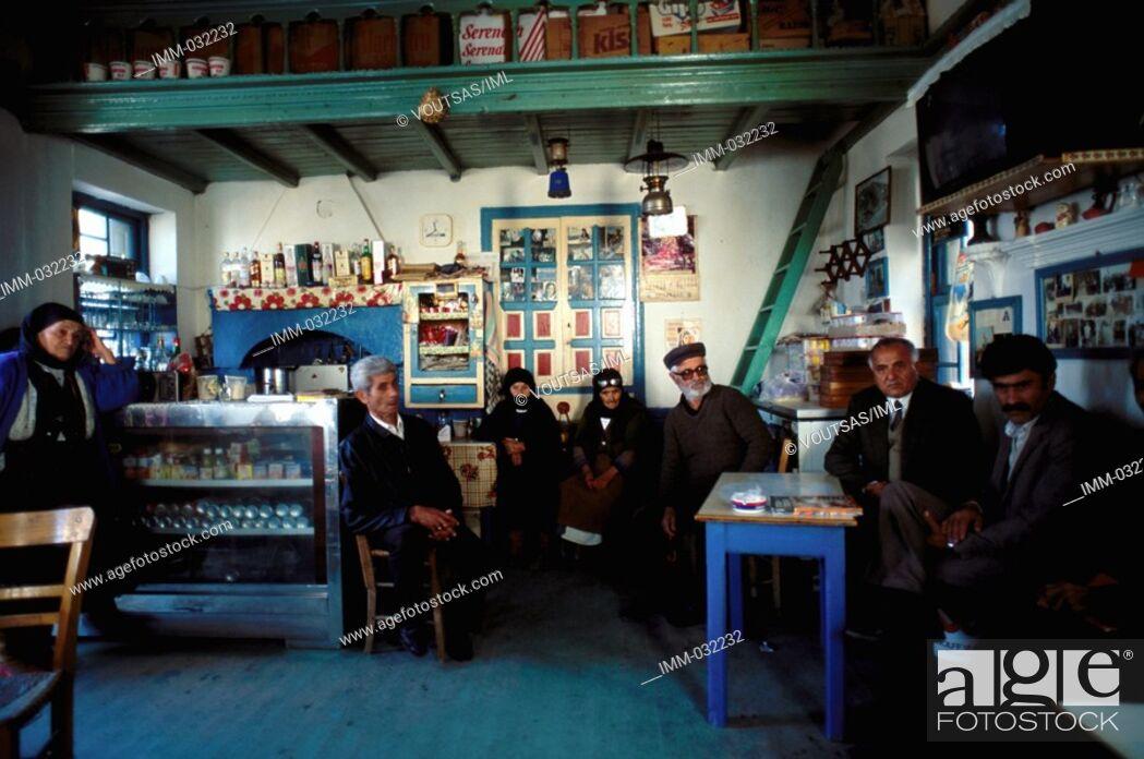 Stock Photo: Karpathos, Olymbos: True to Tradition Olymbos, kafeneio, local people.