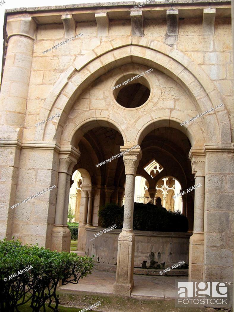 Stock Photo: Cloister of Santes Creus Cistercian monastery. Tarragona province, Catalonia, Spain.