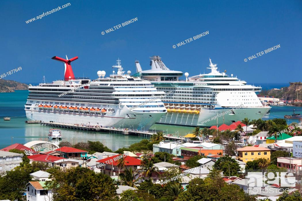 Stock Photo Antigua And Barbuda St Johns Elevated City View With Cruiseships At Heritage Quay Cruiseship Terminal