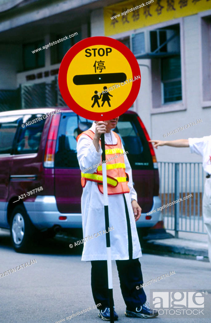 Stock Photo: Taking care of children. Hong Kong. China.