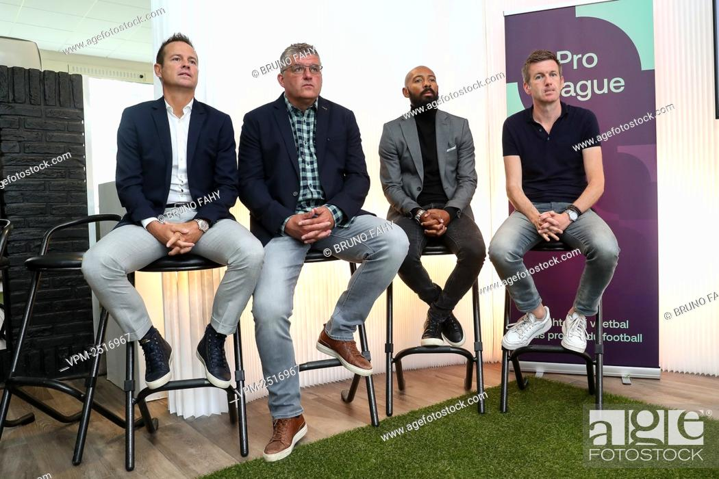 Stock Photo: Former soccer players Gilles De Bilde and Philippe Albert, TV commentator Gunter Van Handenhoven and TV commentator Filip Joos pictured during a press.