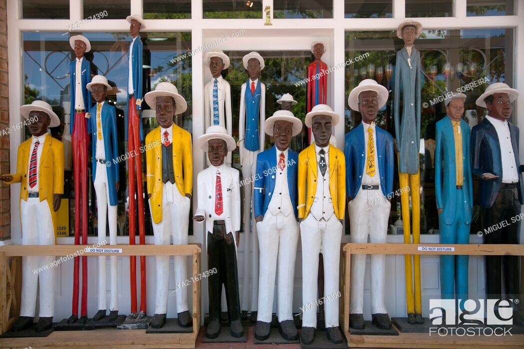 Stock Photo: Wooden sculptures for sale in Franschhoek.