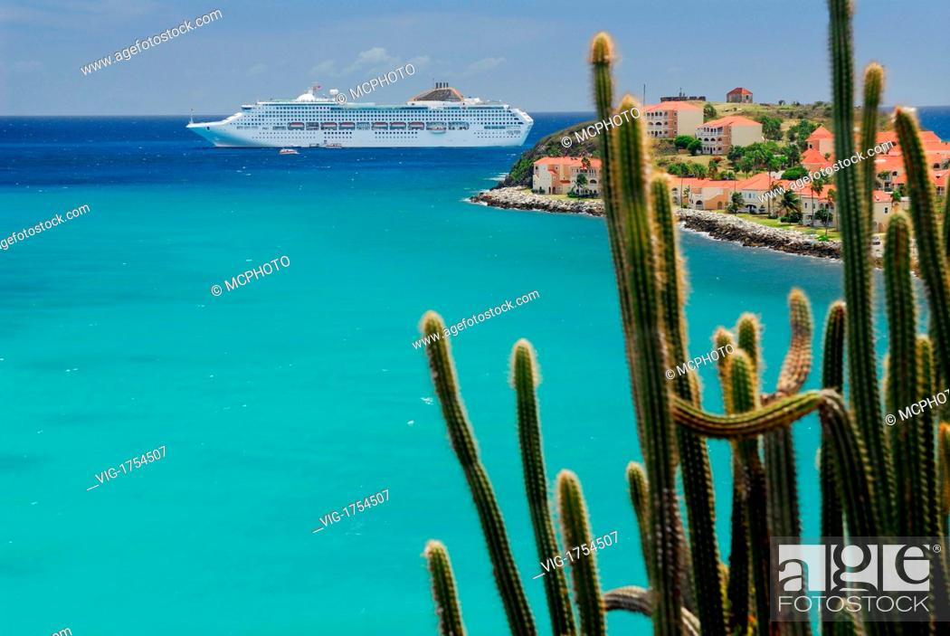 Stock Photo: Great Bay St Maarten with cruise ship and tall cactus - 18/03/2007.