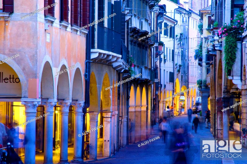Stock Photo: Via Calmaggiore, Treviso, Veneto, Italy.