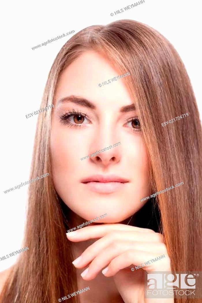 Junge Attraktive Frau Mit Glatten Gesunden Langen Haaren Stock